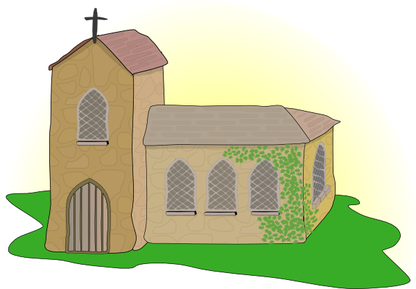 Transparent church medieval. Country clip art at