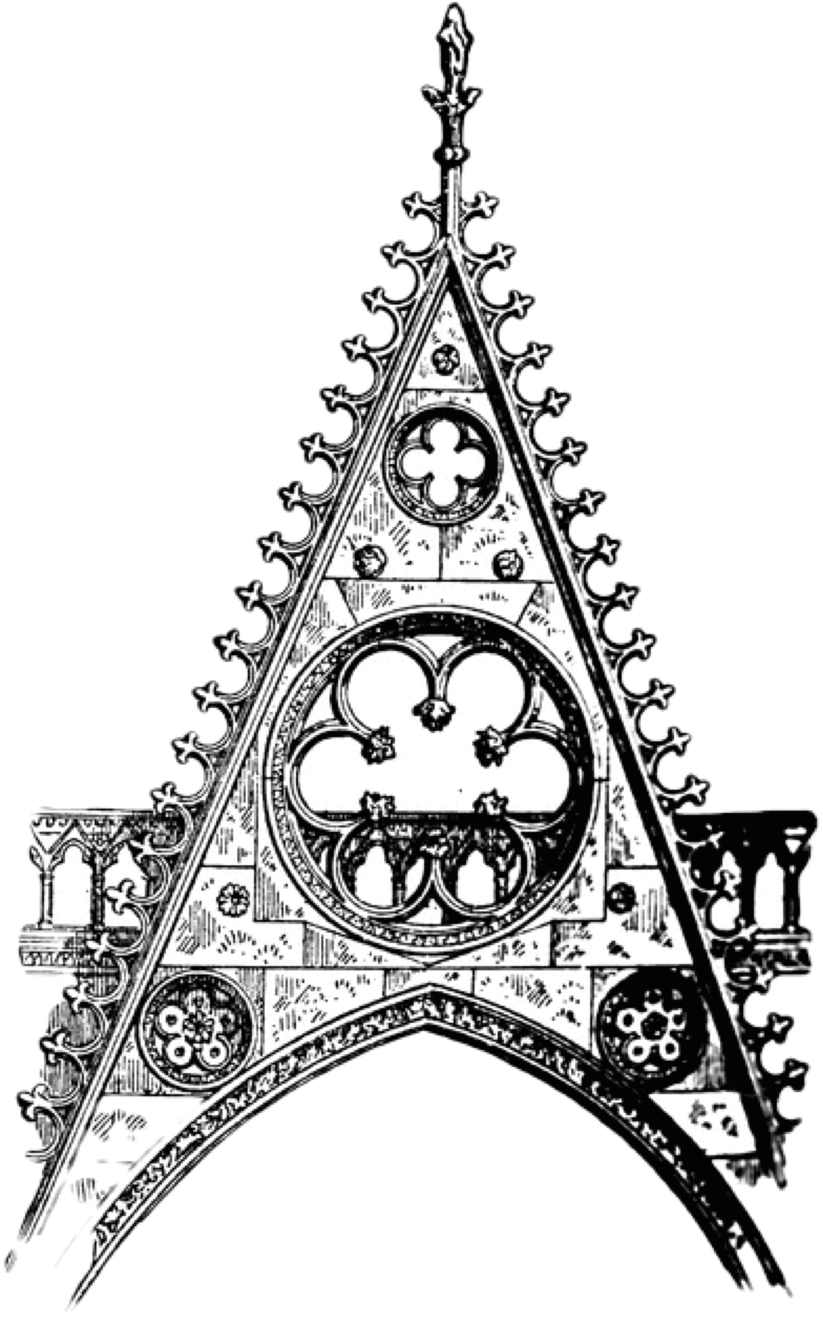 Catholic drawing gothic church. Important announcement of the