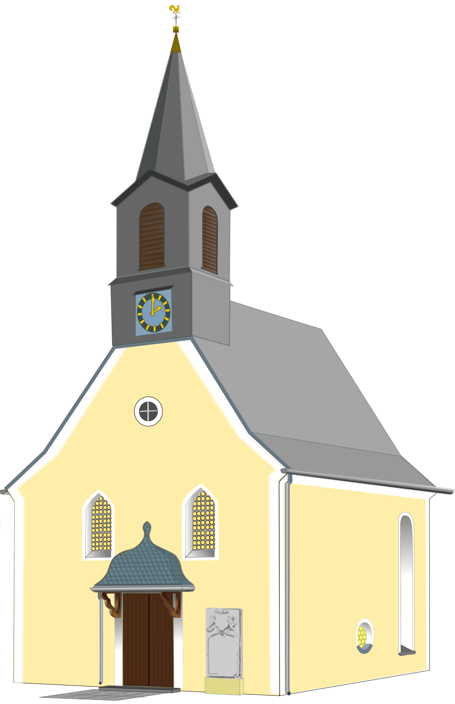 Transparent building church. Small village png stickpng