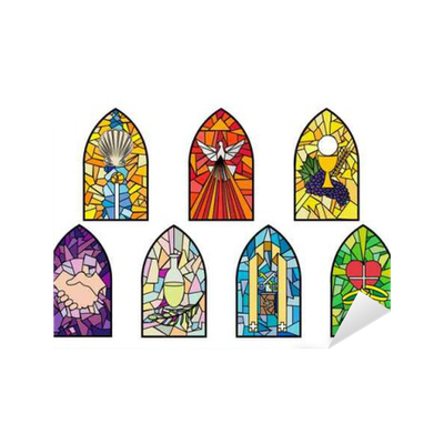 Church window png vector. Symbols of the seven