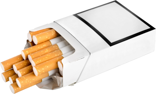 Cigarettes transparent cartoon cigarette. Pack of ten isolated