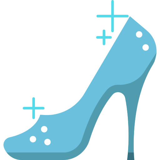 Cinderella shoes png. Multicolor shoe icons and