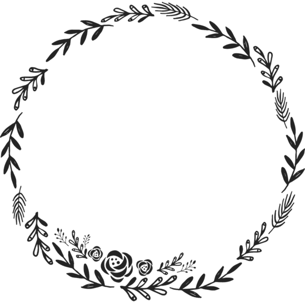 Circle border design png. Floral wreath rubber stamp