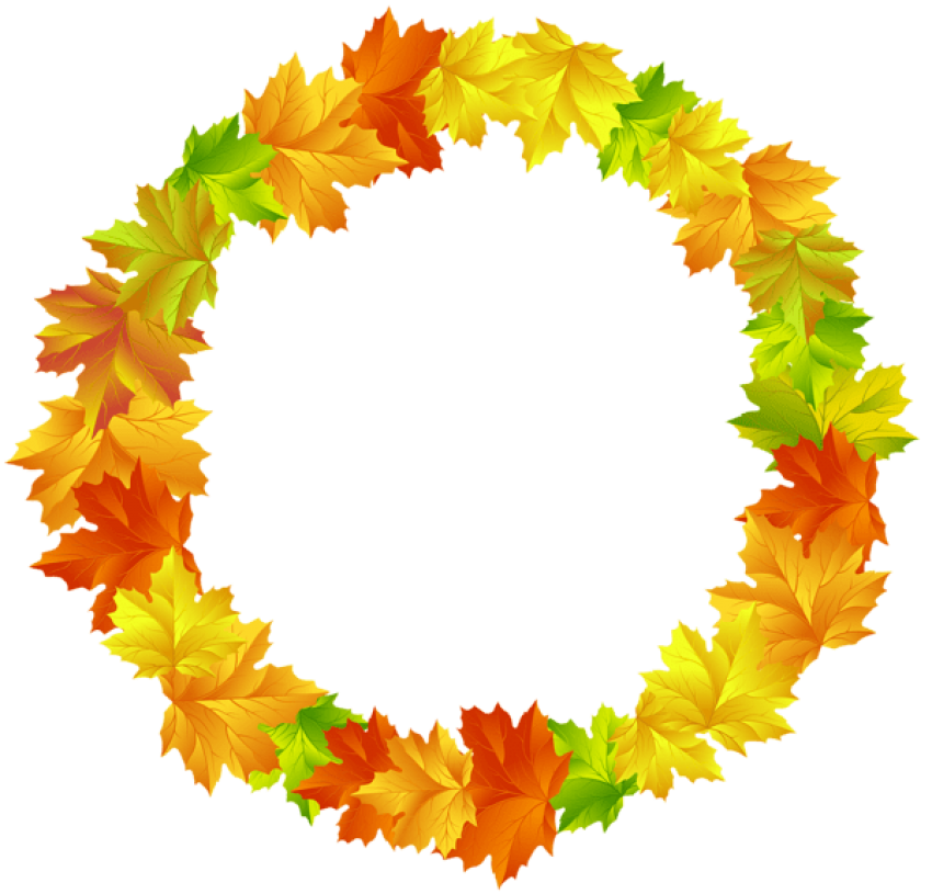 Circle clipart banner. Download fall leaves round