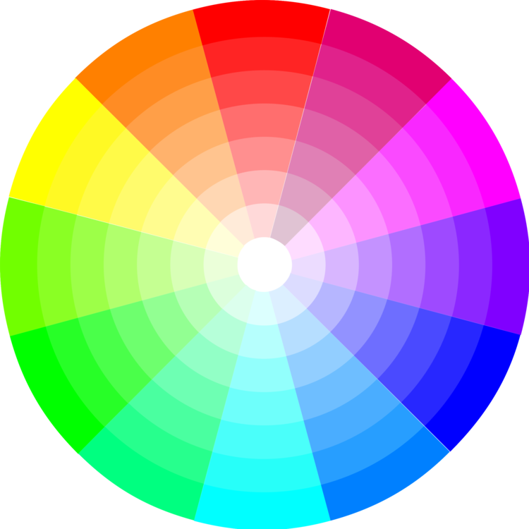 Circle clipart colored. Color wheel tints and