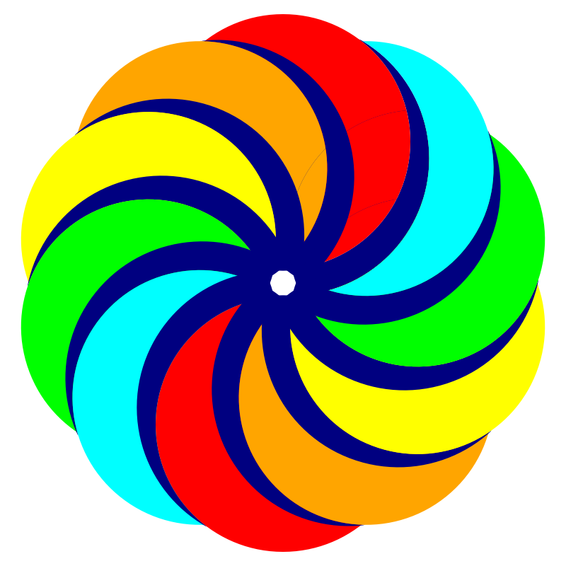 Circle clipart colored. Circles in decagon shape