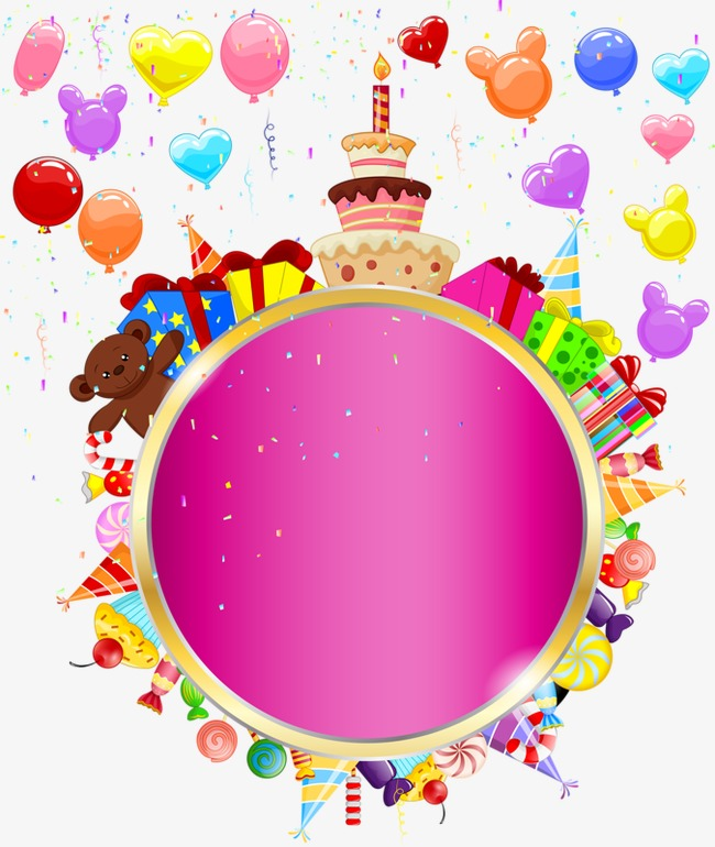 Circle clipart happy birthday. Tag elements decorative material