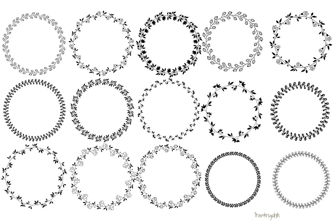 Circle clipart leaf. Floral wreath black round