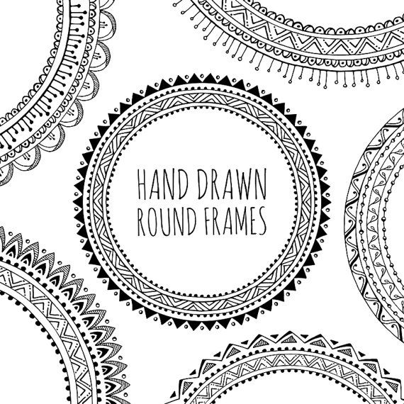 Circle clipart tribal. Hand drawn decorative