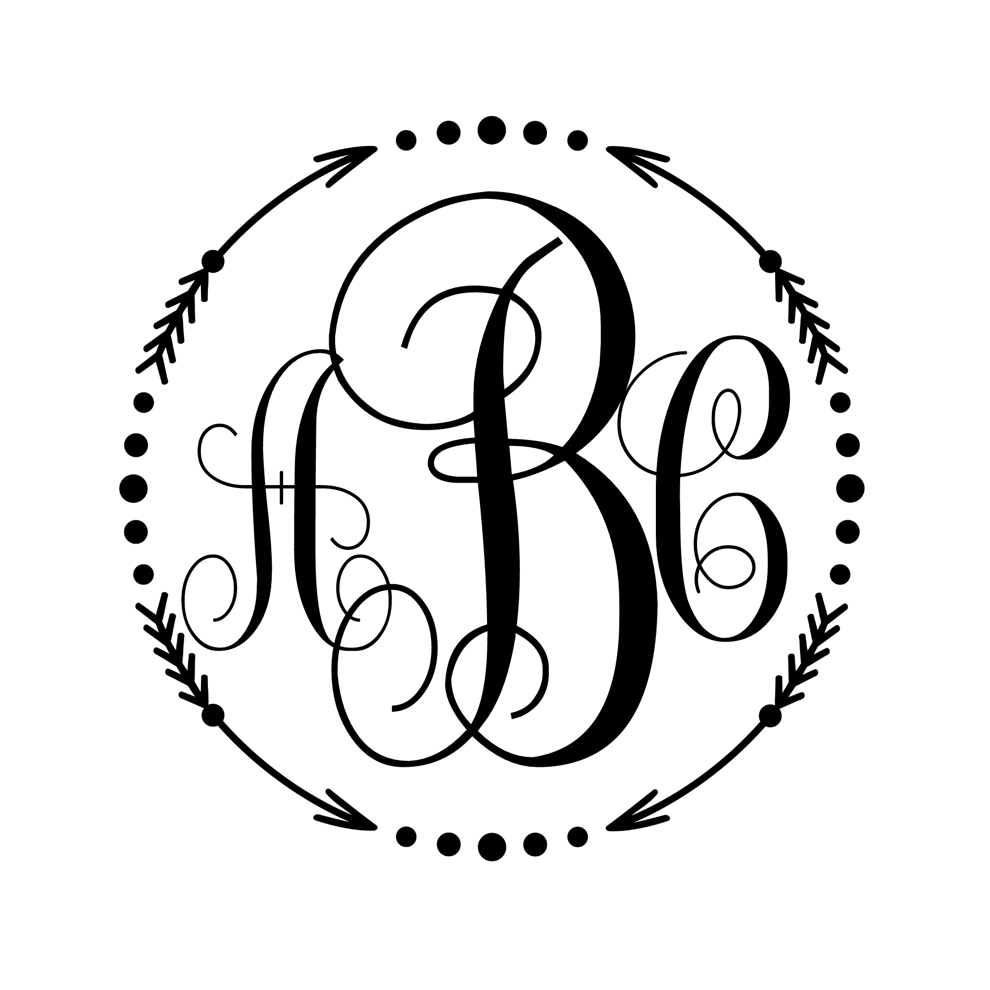 Circle dots png. Monogram decal arrow or