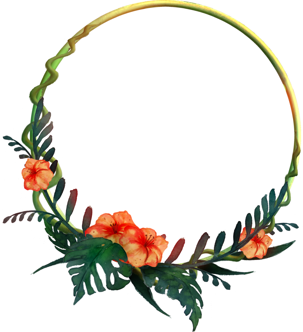 Circle flower png. Round tropical frame