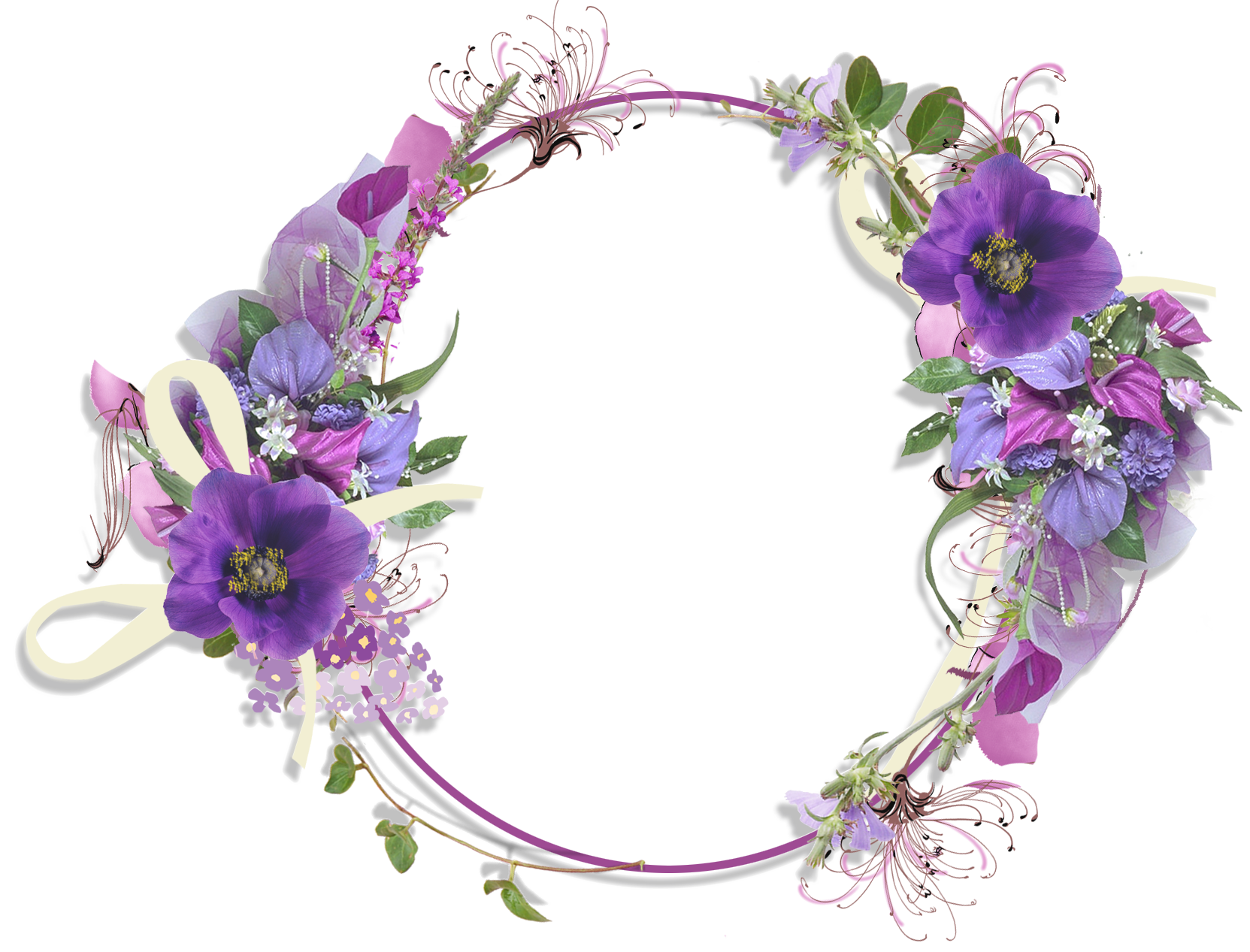 Round flower frame png. Purple gallery yopriceville high