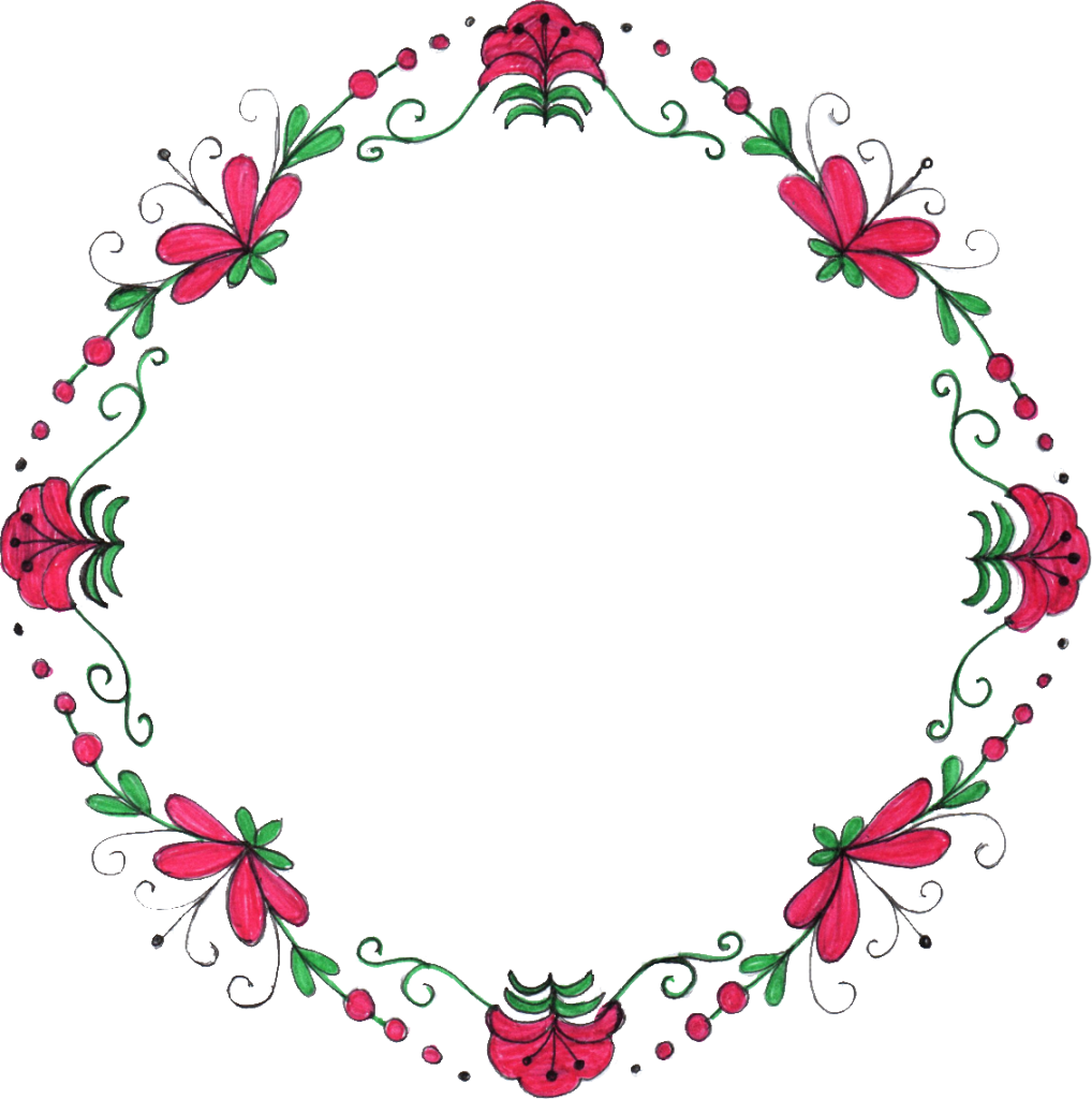 Flower drawing png. Circle frame transparent