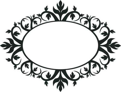 Ornamental oval frame clip. Arabescos vector jpg black and white library