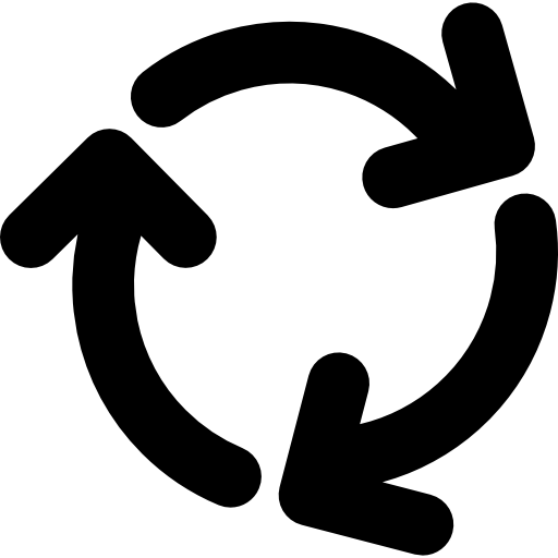 Circle of arrows png. Three rotating in clockwise