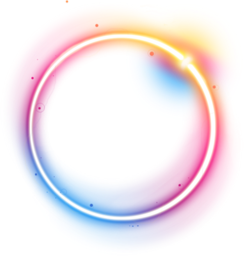 Circle png neon. Rainbow spiral glow light