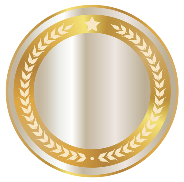 Circle seal png. Golden and white clipart