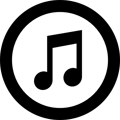 Itunes logo of amusical note inside a circle