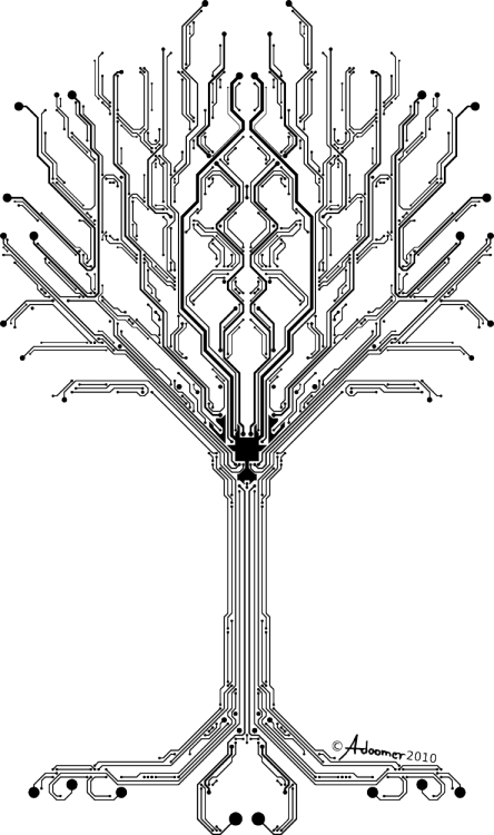 Circuits vector tree. Cypulchre of digital lifeby