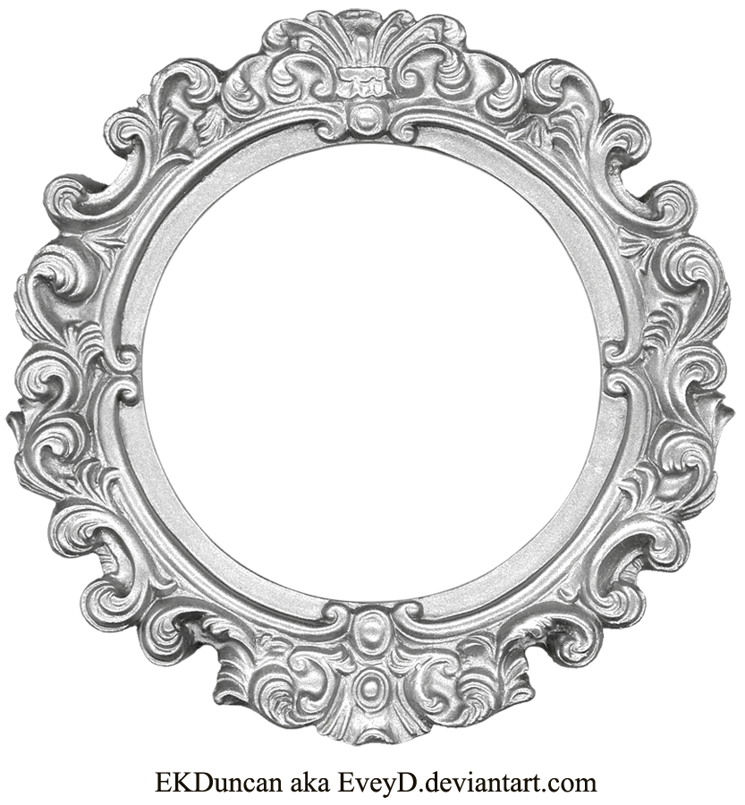 Circular silver labels png. Vintage frame round by