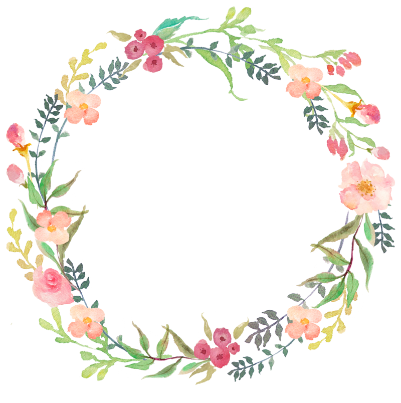 Botanical vector floral wreath. Original png yazi fonlari