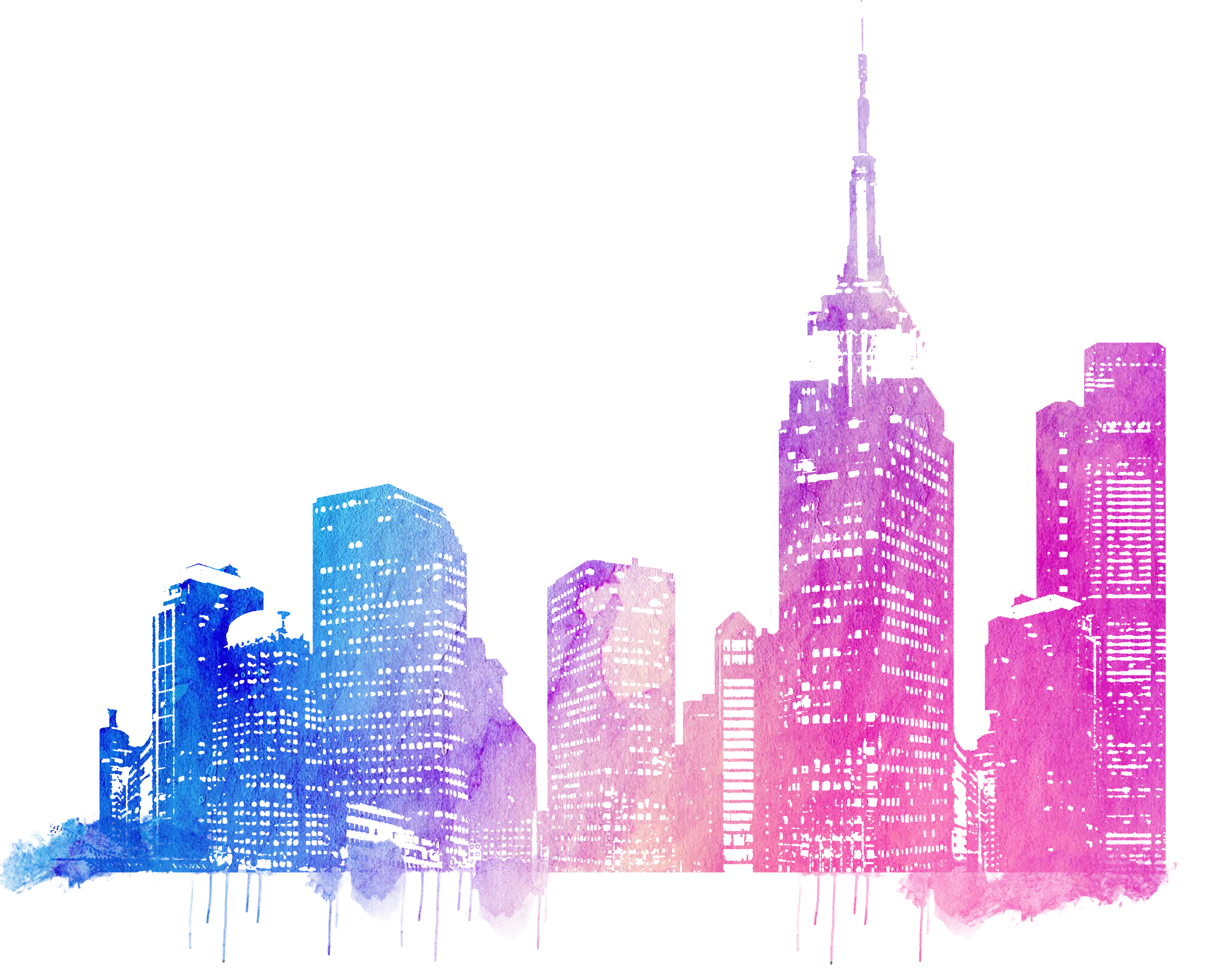 Cities drawing. Skylines colorful city skyline