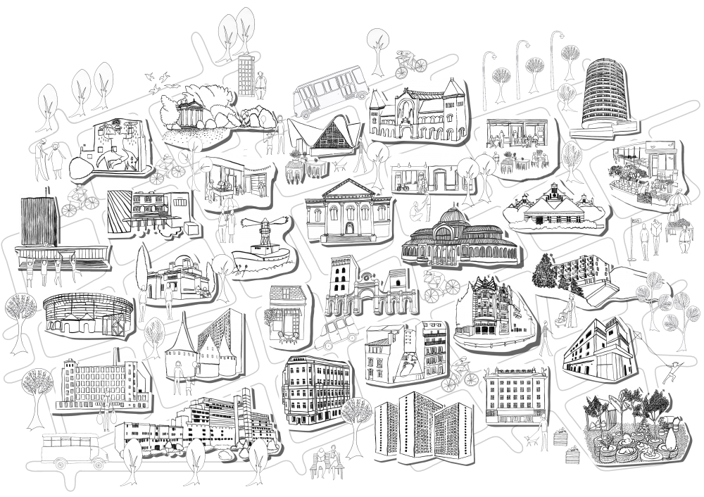 cities drawing village