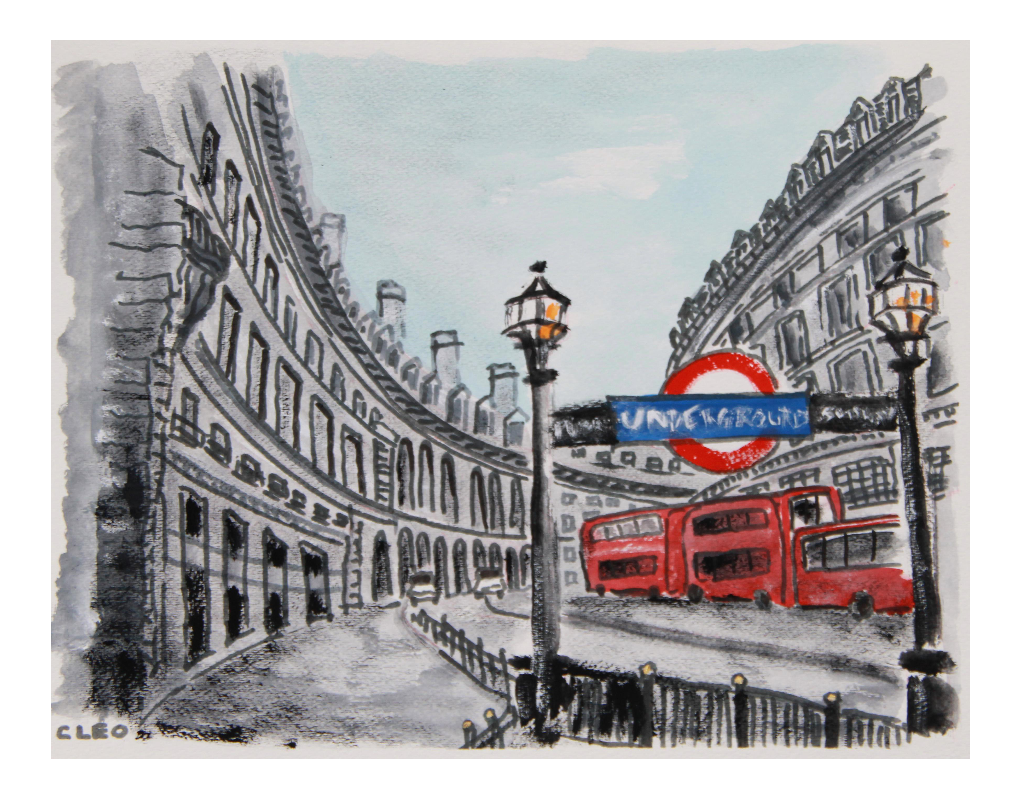 Cities drawing abstract. London cityscape painting by
