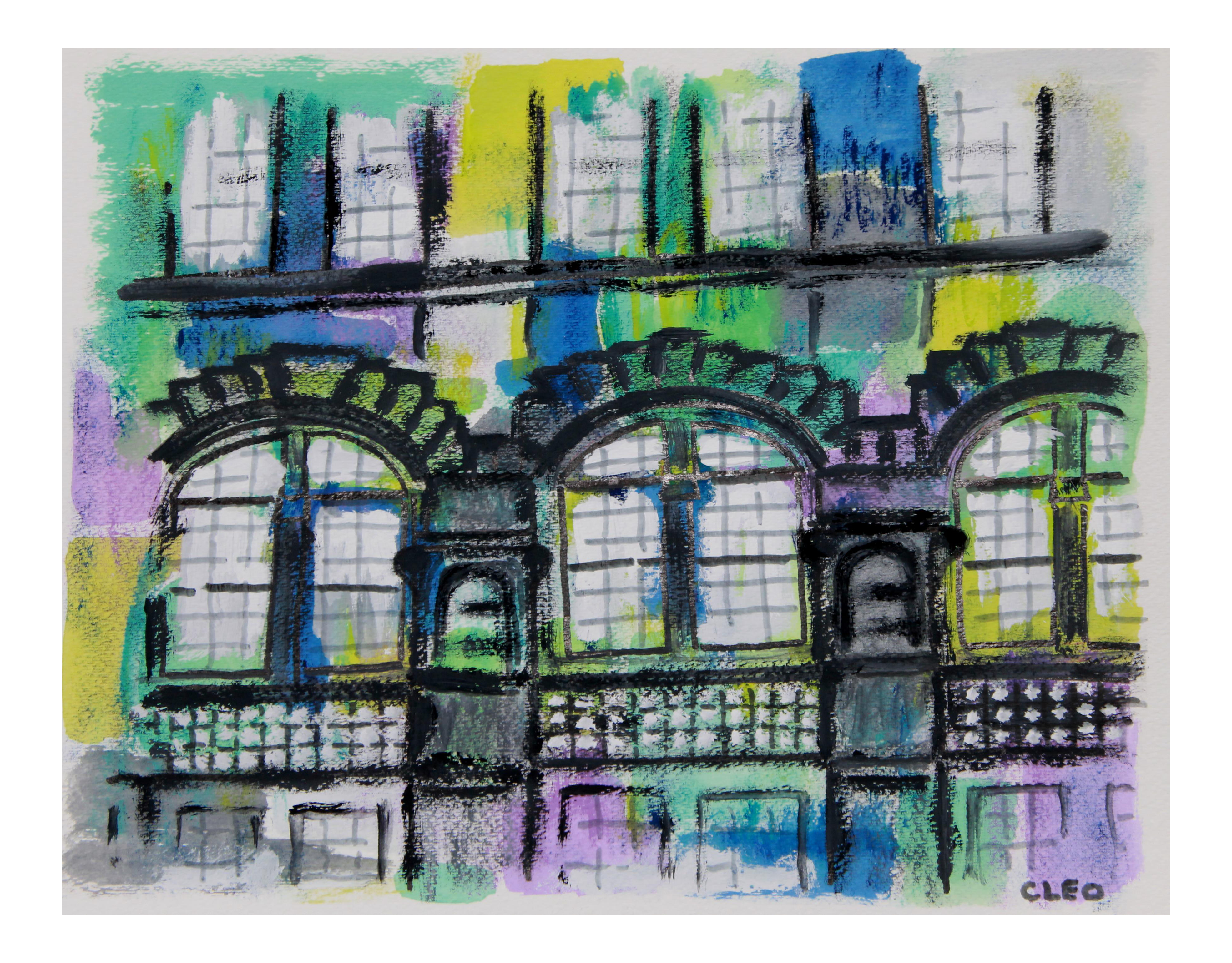 Cities drawing abstract. Brownstone building new york