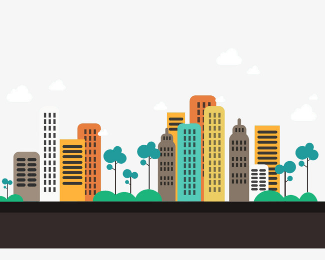 City clipart. Cartoon building trees style
