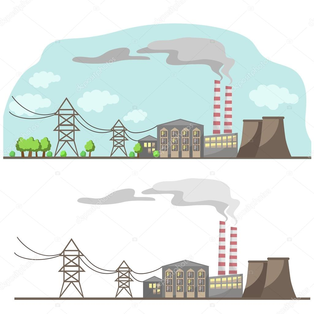 City clipart industrial city. Power supply of the
