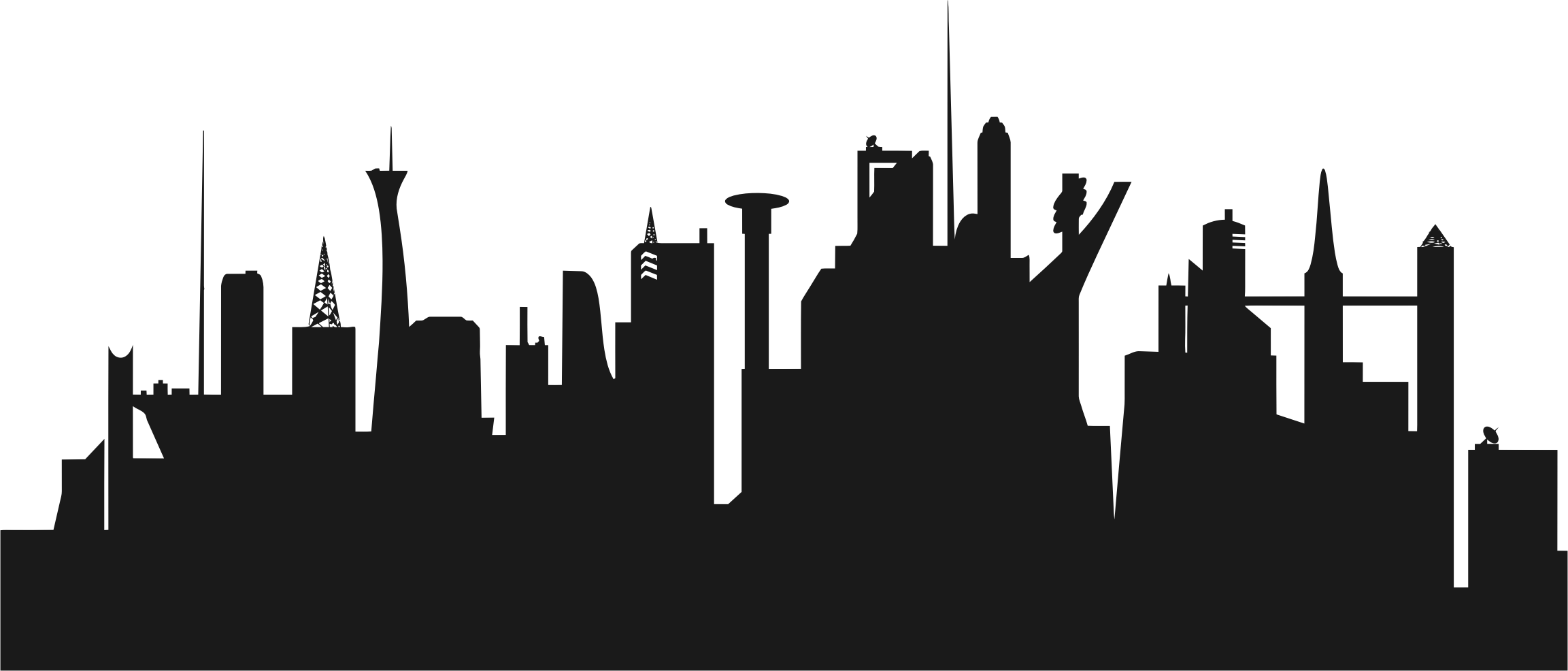 Vegas vector stratosphere silhouette. Futuristic city skyline icons
