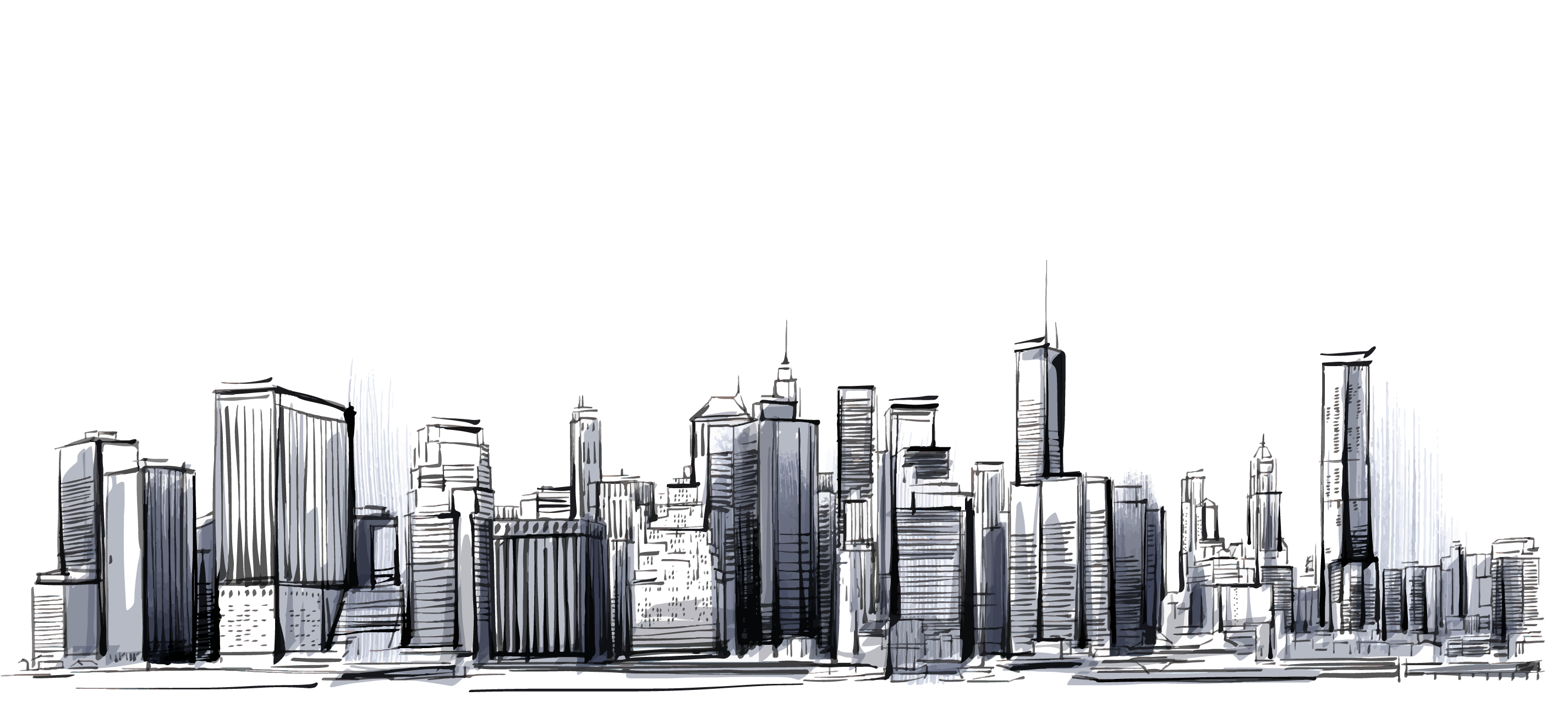 City clipart city landscape. Manhattan cities skylines drawing