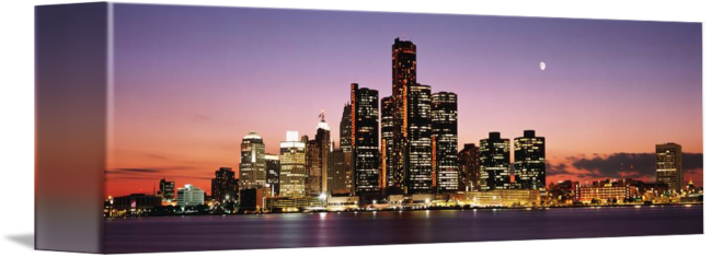 Night detroit mi by. Panorama drawing skyline florence picture free library