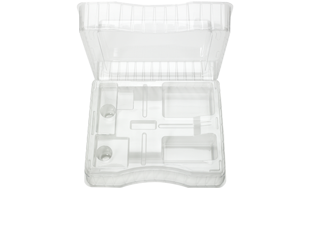 Transparent packaging plastic. Clamshell thermoformed blisters trays