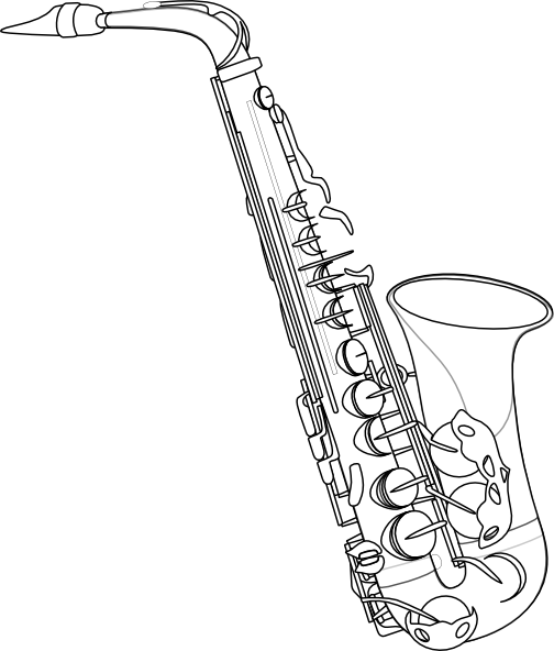 Clarinet vector outline. Saxophone clip art at