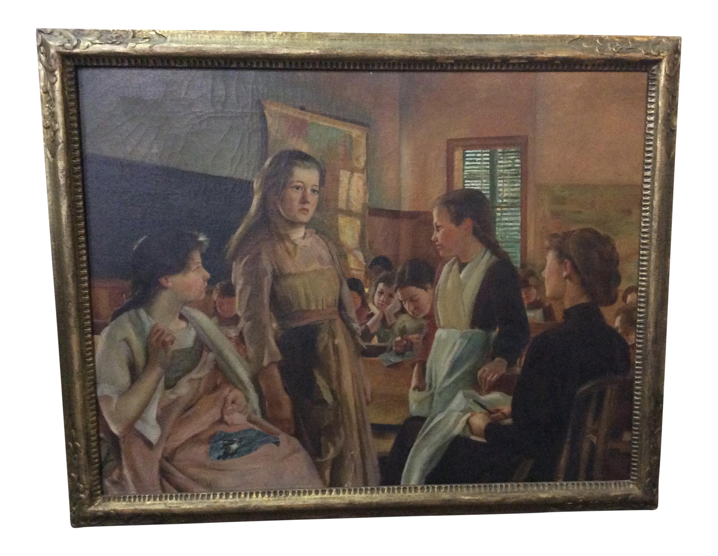 Class drawing oil painting. Antique girls sewing illustrator