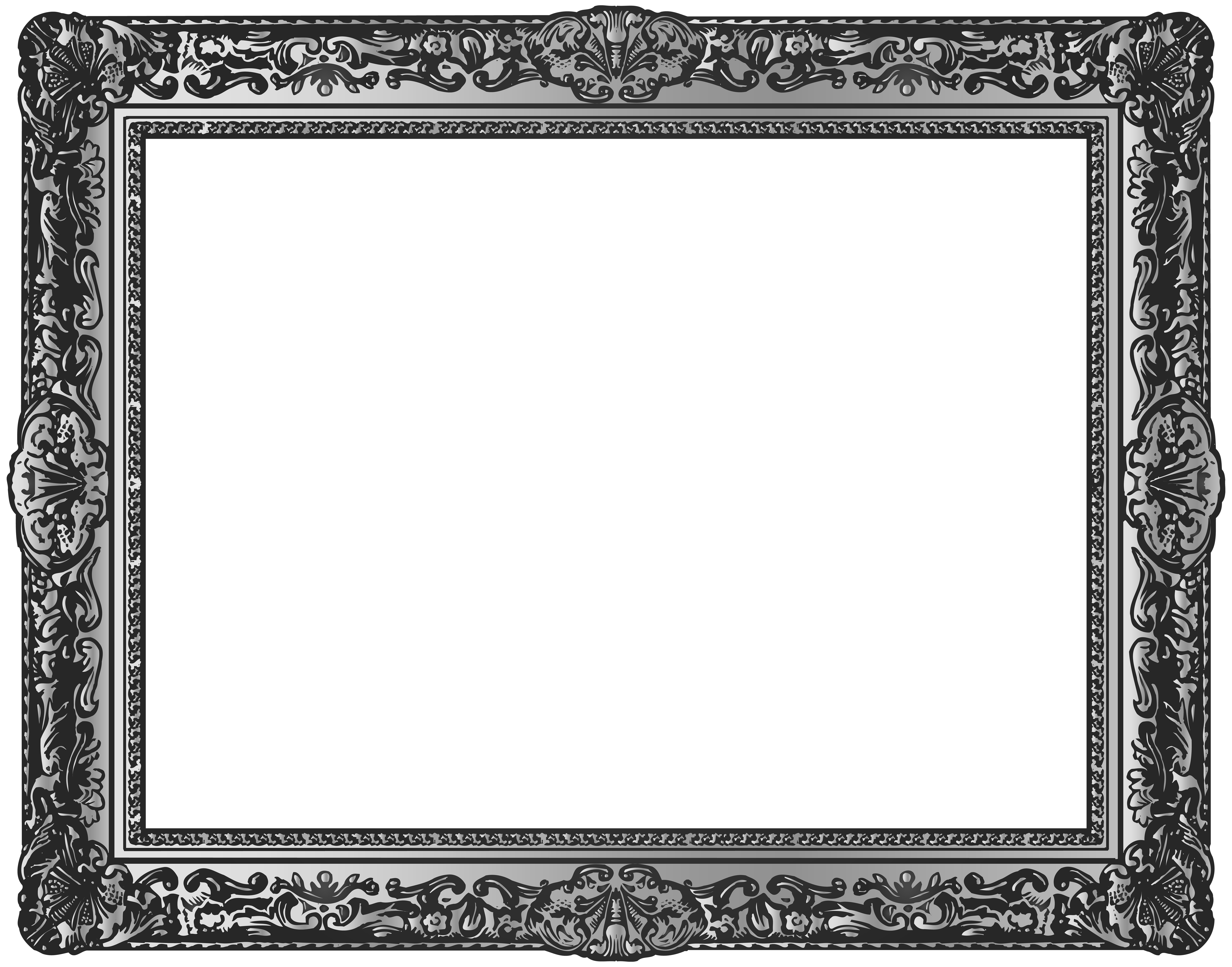 Classic clipart photo frame. Silver pictures transparent png