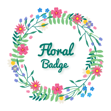 Typography vector flower. Beautiful badge wreath floral