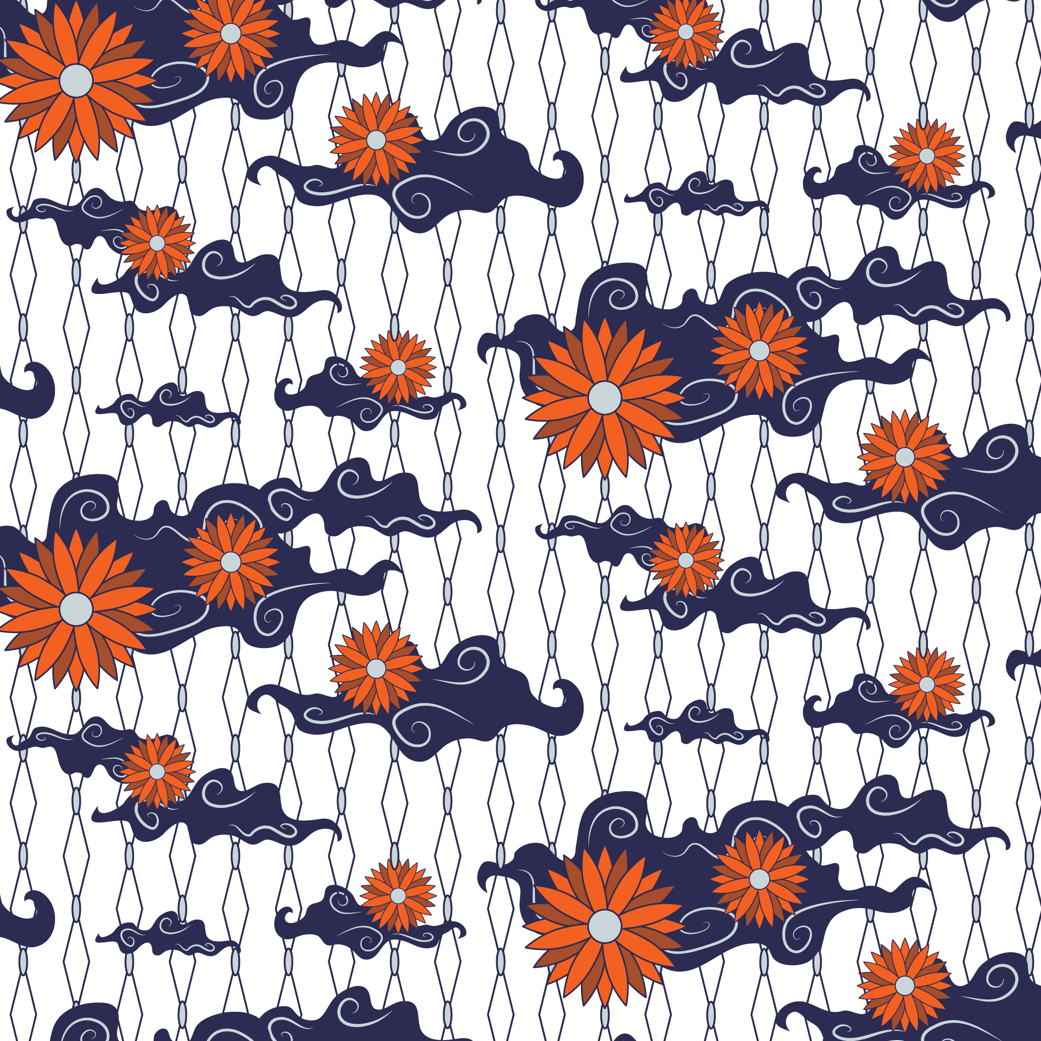 Classic vector batik. Pattern blue and white