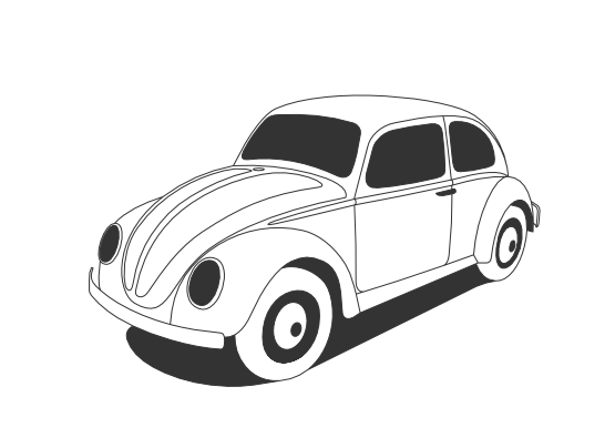 Classic vector black and white. Vw beetle line art