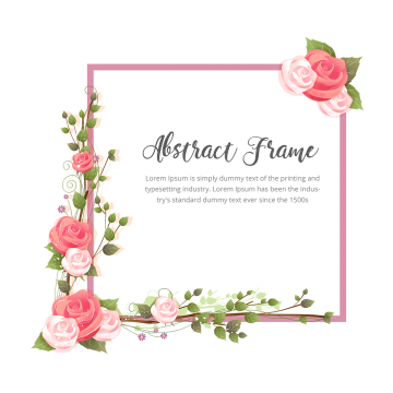 Classic vector frame. Abstract rose flowers branches