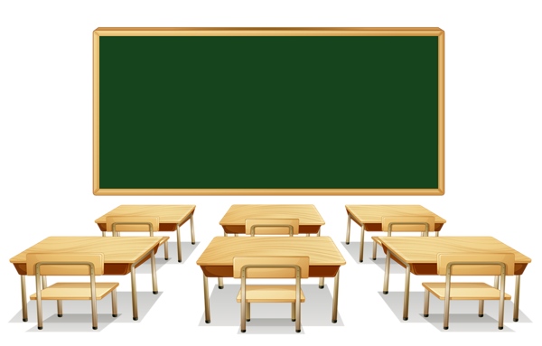 Classroom vector. With green board and