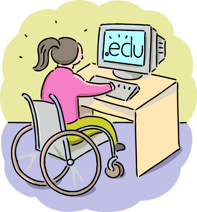 Classroom vector classmate. Student with disability works