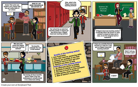 Classroom vector comic. Flipped storyboard by rena