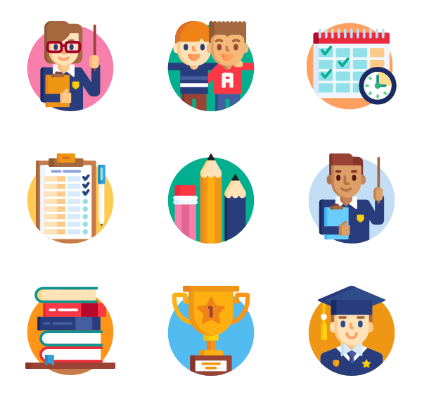 Classroom vector flat. Class icons free back
