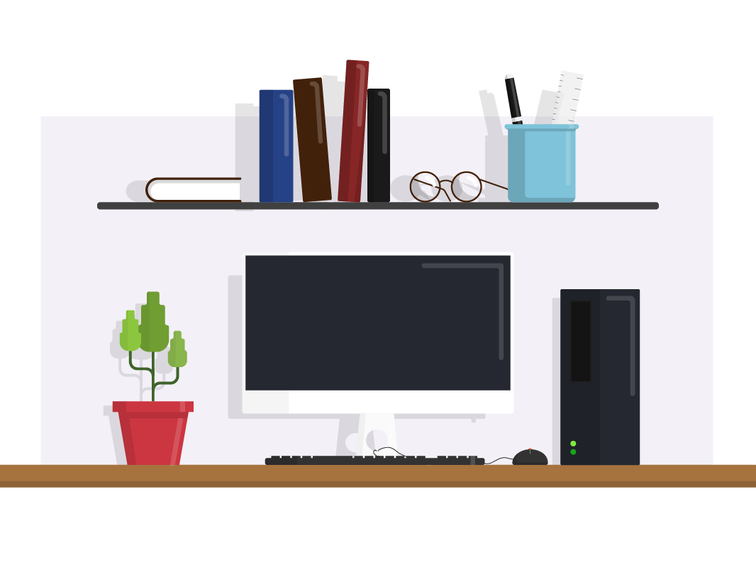 Classroom vector desk. Work illustrator exercise by