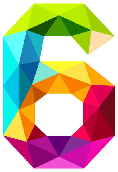 Triangle clip design. Colourful triangles number six