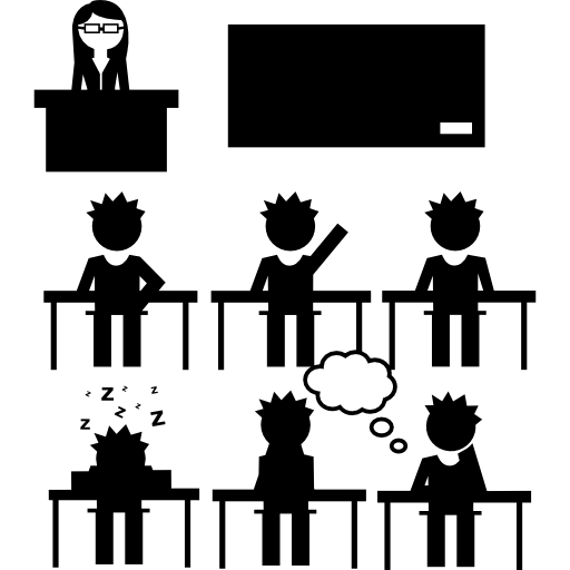 Teaching vector silhouette. Students and teacher in