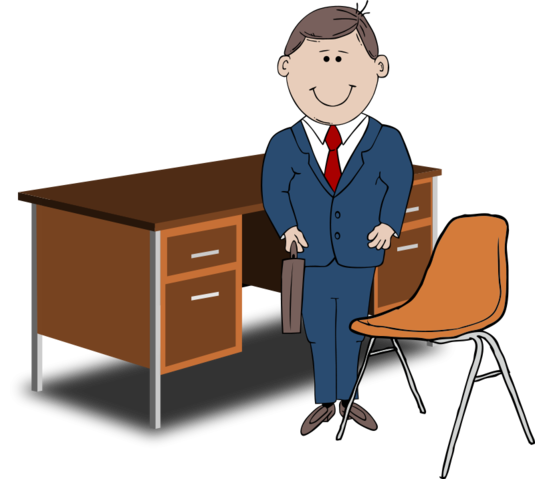 Vector chair manager. Free teacher between and